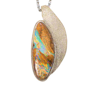 A SUMMER NIGHT STERLING SILVER AUSTRALIAN SOLID BOULDER NECKLACE
