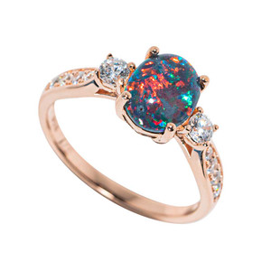 DELICACY 18KT ROSE GOLD PLATED AUSTRALIAN  OPAL RING