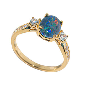 ADMIRE 18KT YELLOW GOLD PLATED AUSTRALIAN  OPAL RING