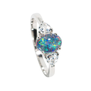 A WATER CANAL STERLING SILVER & WHITE TOPAZ AUSTRALIAN  OPAL RING