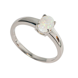 A NIGHT IN ROME STERLING SILVER AUSTRALIAN SOLID WHITE OPAL RING