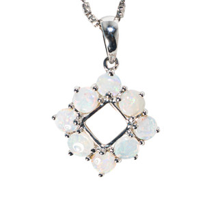 *WHITEHAVEN STERLING SILVER AUSTRALIAN SOLID WHITE OPAL NECKLACE