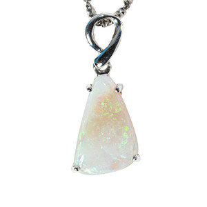 1 WHITE SANDS STERLING SILVER AUSTRALIAN SOLID WHITE OPAL NECKLACE