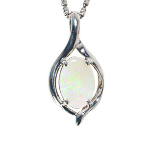 1 WHITE JASMINE STERLING SILVER AUSTRALIAN SOLID WHITE OPAL NECKLACE