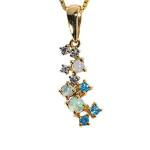 1 SNOW QUEEN 18KT YELLOW GOLD, BLUE TOPAZ & DIAMOND AUSTRALIAN WHITE OPAL NECKLACE