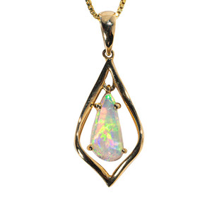1 WHITE CASTLE 14KT YELLOW GOLD AUSTRALIAN SOLID WHITE OPAL NECKLACE