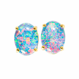 ESCAPE STORY 18KT GOLD PLATED NATURAL AUSTRALIAN OPAL EARRINGS