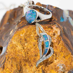 DIVINITY DISCOVERED STERLING SILVER GENUINE AUSTRALIAN OPAL JEWELRY SET