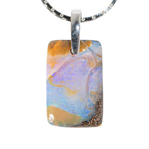 IRIDESCENT YOU STERLING SILVER SOLID AUSTRALIAN BOULDER OPAL NECKLACE
