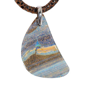 MAHOGANY STERLING SILVER SOLID AUSTRALIAN BOULDER OPAL NECKLACE