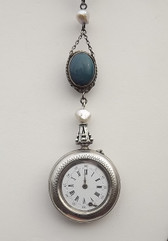 Antique STERLING Silver Ladies Pocket Watch Lavalier~Redesign 4 Aesthetic Value