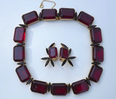 Spectacular Hattie Carnegie Big Red Stones Necklace Earrings Black Navettes