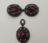 Ornate Austro Hungarian Victorian Cloak Cape Clasp Carnelian + Sew On Ornament