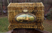 Antique Victorian Celluloid Dresser Box Croc Alligator Velvet + Scene High Dome