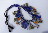 Vintage Massive Boho Necklace Painted Fish Turtles Intricate Beadwork Art Piece