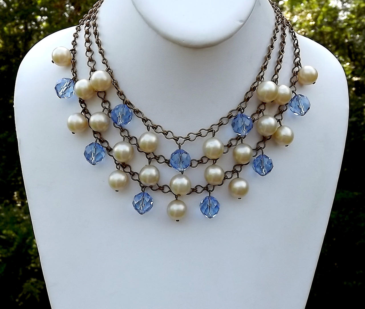 1f26b65a29bd0 Early MIRIAM HASKELL Necklace Pearls Blue Crystal Beads Ornate Clasp 3  Strand