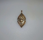 Vintage Estate Jade Pendant 14K Yellow Gold Open Work Peach Immortality Luck