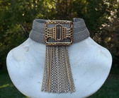 Vintage Ancient Greek Inspired SANDOR Chainmail Choker Gold Silver Chain Dangles