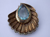 Eisenberg Original STERLING Aquamarine SEASHELL Pin ART NOUVEAU DESIGN