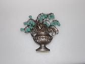 Vintage Lily of The Valley  In Planter Pin Glass  Flower Beads Rare Urn Brooch