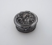Fabulous Victorian SILVER Repousse Ring Presentation Box High Relief Hunt Scenes