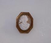 Victorian Cameo Brooch Carved Sardonyx Pin Greek Harvest Goddess