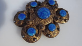 Austro Hungarian Etruscan Revival Belt Buckle Glass Opals Pearls Hallmark
