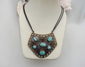 Bora Yasar Turquoise Necklace Sterling Silver Bronze Ruby Emerald Mogul Style