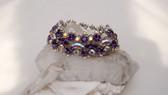 Vintage WIDE Sherman Round & Marquise Cut AB Crystal Purple Rhinestone Bracelet