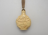 Vintage Kenneth Lane Necklace Snuff Bottle Pendant large Carved Faux Ivory