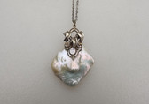 35mm White Keshi Reborn Pearl Pendant Art Nouveau Revival Leaves Adornment