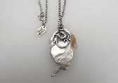 HUGE 42mm White Drop Keshi Reborn Pearl Pendant With Mermaid Adornment