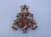 Exquisite Huge Rhinestone Christmas Tree Brooch Xmas Bells  Bows Pin