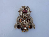 Fabulous Huge Rhinestone Christmas Tree Brooch Huge Topaz  Glass Stone