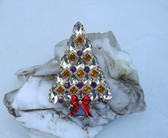 Super Bling Diamond Pear  Shaped Rhinestones Christmas Tree Brooch Xmas Pin