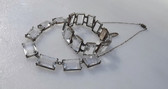 Art Deco Quartz Crystal Necklace Bracelet Set Sterling Silver Emerald Cut Stones