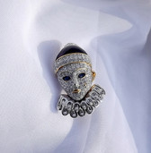 Swarovski Crystal Pierrot Pin Rare Retired Clown Brooch Look of Real