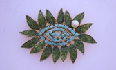 Swoboda Gem Turquoise Peridot & Pearl Brooch Large Pin Unsigned