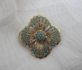 Sterling Vermeil Turquoise Glass Brooch Intricate Gold Beading Etruscan Style