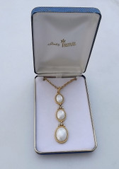 Vintage Crown Trifari Pearl Cabochon Long Necklace In Box