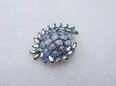 Crown Trifari Etoile Blue Lava Glass Pin AB Rhinestone Vintage Brooch