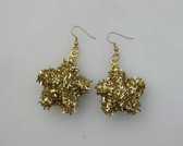 Sparkly Gold Star Tinsel Ornament Earrings Big Fun Pair
