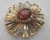 Huge Rare Signed Vintage Schreiner NY Iconic Citrine Ruffle Pin Pendant Brooch