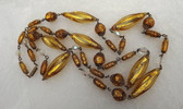 "Louis Rousselet French Poured Glass Gold Foil Beads Necklace 44"" Long Stunning"