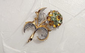 M. Boucher Flower Brooch MB Phrygian Cap With Initial R Pave & Open Back Stones