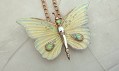Betsey Johnson HUGE Flutterbye Iridescent Moth Opalescent Butterfly Necklace