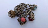 Victorian Revival Fob Charm Bracelet Heavily Embossed Fobs Deco Era Toggle Clasp