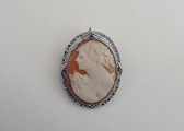 Vintage Silver Hand Carved Cameo Pin Brooch Sterling Filigree Pendant