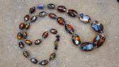 Vintage Art Deco Venetian Fire Opal Foil Glass Beads Czech Necklace Vivid Colors