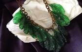 Vtg POURED GLASS LEAVES FRINGE Necklace~CZECH or FRENCH~RARE PIECE 2 Die 4